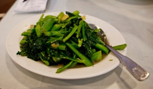 Th best thing I tasted in the past week was wok-fried Chinese broccoli with ginger and green onions at JJ Chines Restaurant in Denver. (Photo for Nibbles by Kim Long/American Forecaster, Denver)