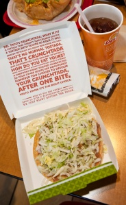 Del Taco is celebrating its 50th anniversary with new items like the CrunchTada (above) and a killer green chile sauce. (Photo by Kim Long)