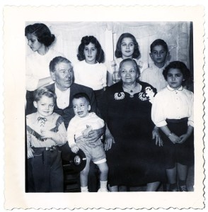 Nanna and Papa Mazzola and grandkids including my brother peter on Papa's knee. This is probably 1953.