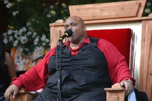 The late Solomon Burke testifying on a Sunday morning at Telluride. (Photo by Hans Lehndorff)