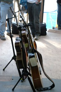 Still life with Emmylou Harris' guitars backstage at Telluride