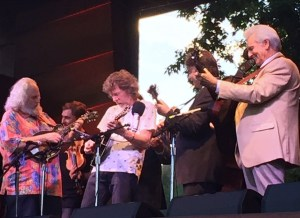 "Sam Bush and David Grisman join the Del  McCoury band at Rockygrass for a stellar version of ""Dawg's Bull."""